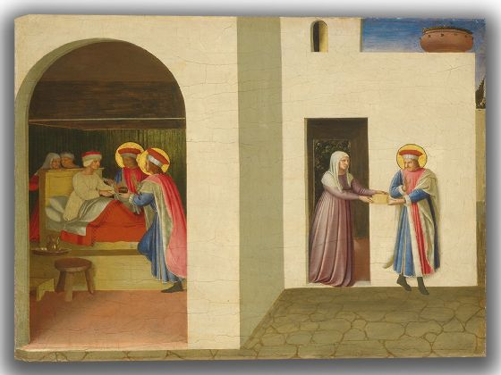 Angelico, Fra: The Healing of Palladia by Saint Cosmas and Saint Damian. Fine Art Canvas. Sizes: A4/A3/A2/A1 (004172) (4052)